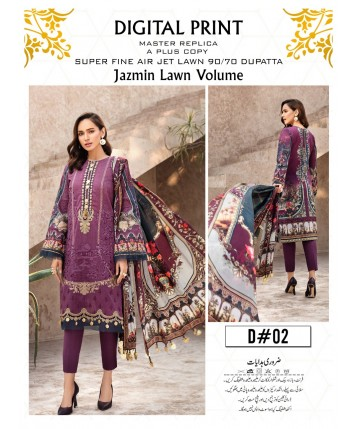 Unstitched Lawn with Lawn Dupatta and Trouser for Summer 2020